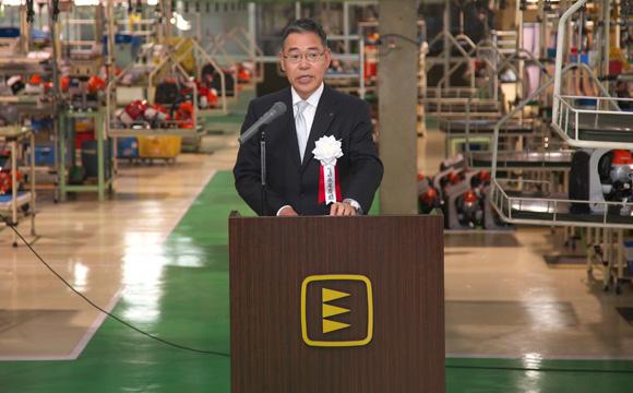 El Sr. Nagao, Presidente de Yamabiko, durante la celebración